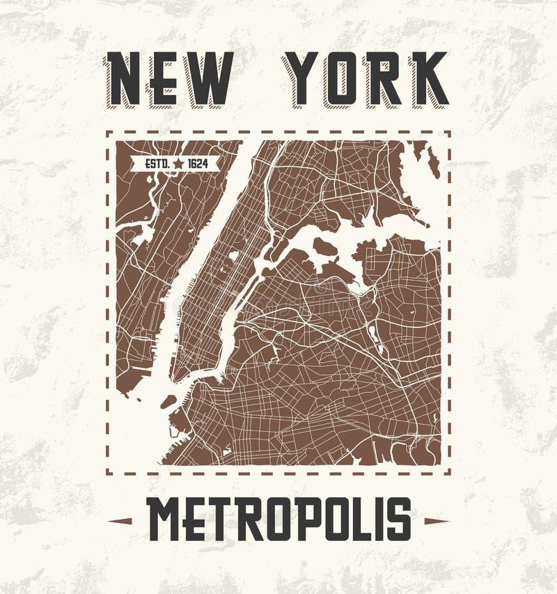 Γραφικό σχέδιο μπλουζών της Νέας Υόρκης εκλεκτής ποιότητας με το χάρτη πόλεων διανυσματική απεικόνιση