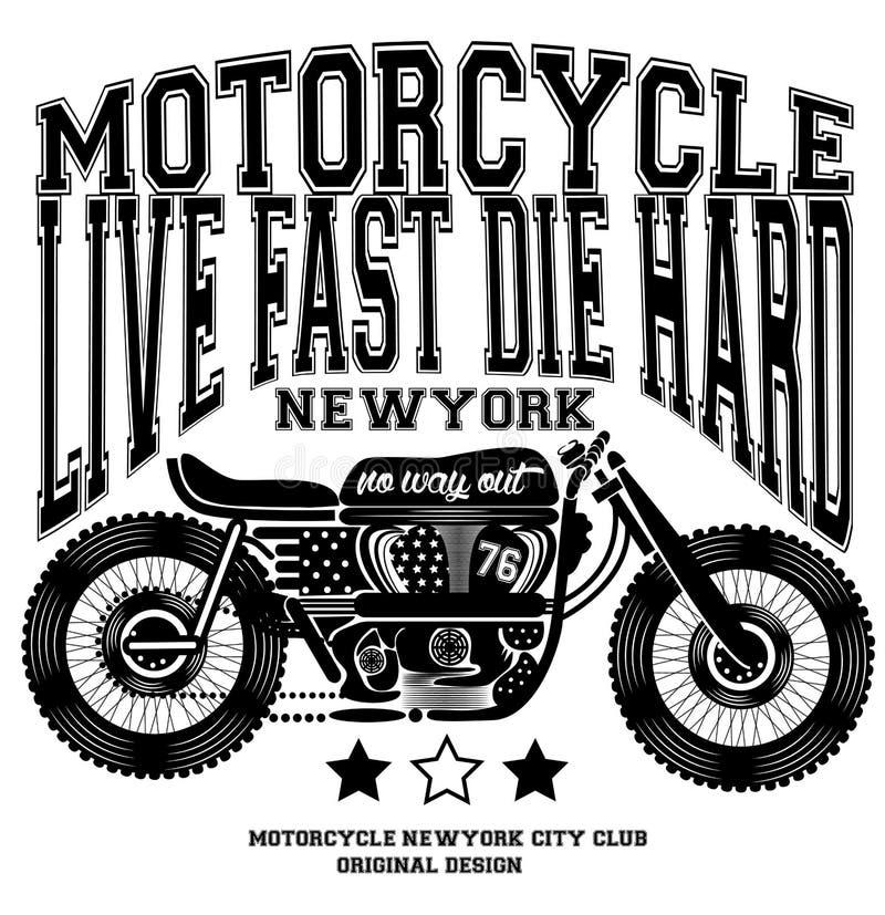 Γραφικό σχέδιο μπλουζών της Νέας Υόρκης μοτοσικλετών εκλεκτής ποιότητας ελεύθερη απεικόνιση δικαιώματος