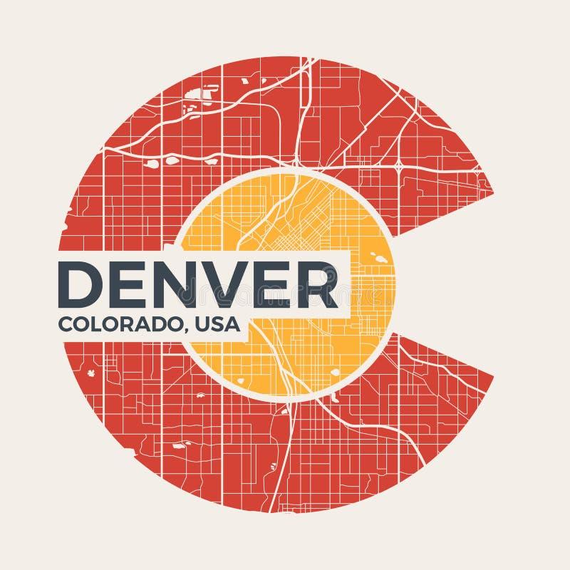 Γραφικό σχέδιο μπλουζών του Κολοράντο με το χάρτη πόλεων του Ντένβερ διανυσματική απεικόνιση