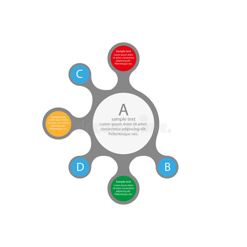 Γραφικό σχέδιο πληροφοριών με τους χρωματισμένους κύκλους στοκ εικόνα