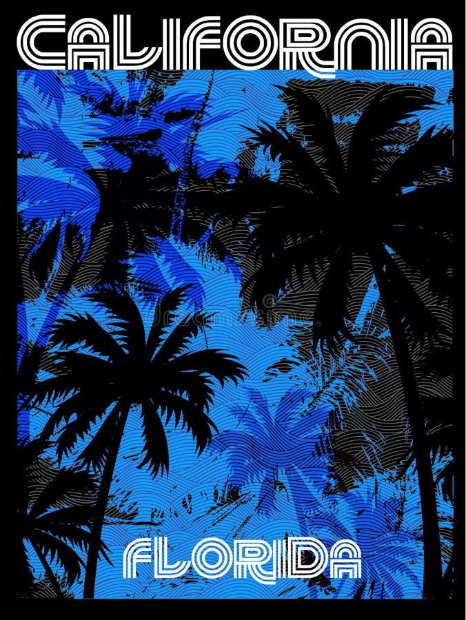 Γραφικό σχέδιο Φλώριδα Καλιφόρνια θερινών γραμμάτων Τ απεικόνιση αποθεμάτων