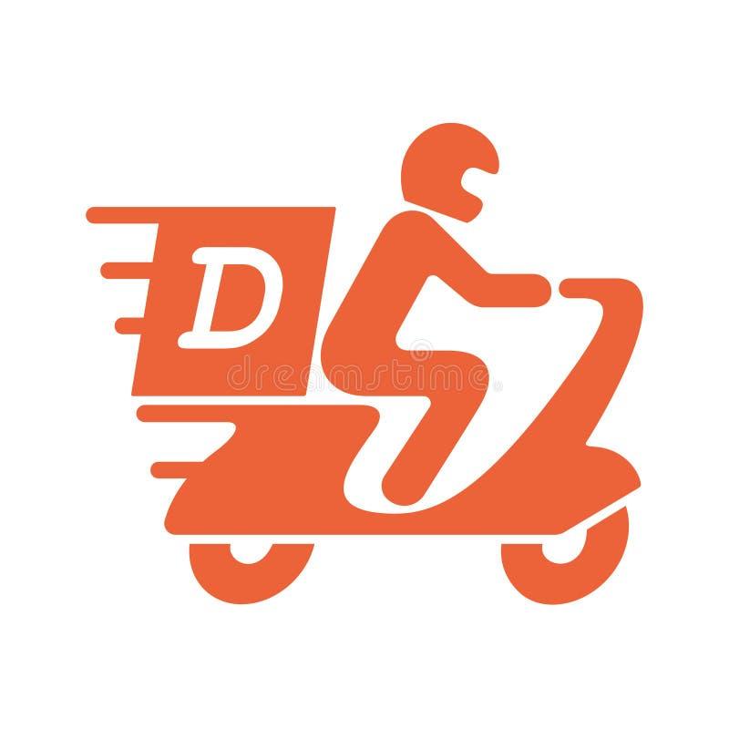 Γραφικό σύμβολο παράδοσης Άτομο εικονιδίων στη μοτοσικλέτα απεικόνιση αποθεμάτων