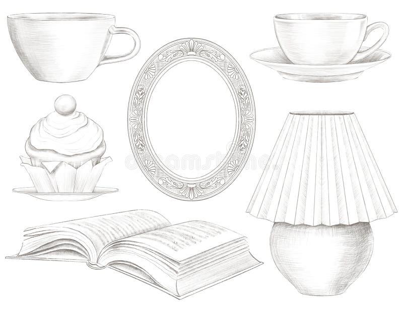 Γραφικό σύνολο μολυβιών μολύβδου διάφορων εκλεκτής ποιότητας αντικειμένων διανυσματική απεικόνιση