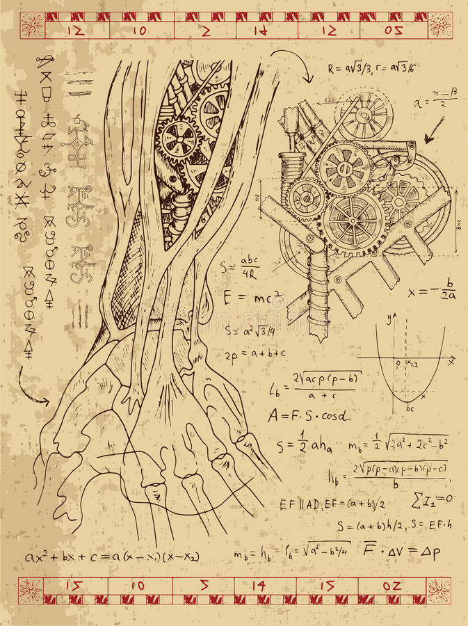 Γραφικό σύνολο με το μηχανισμό steampunk στο ανθρώπινο χέρι ανατομίας ελεύθερη απεικόνιση δικαιώματος