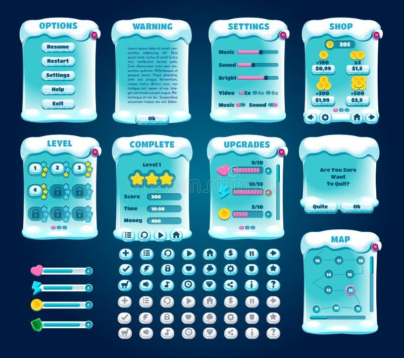 Γραφικό σύνολο χειμερινού αθλητισμού ενδιάμεσων με τον χρήστη διάνυσμα απεικόνιση αποθεμάτων