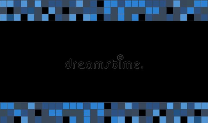 Γραφικό τετραγωνικό χρώμα Μπλε τετράγωνα στο μαύρο υπόβαθρο για την κάρτα πίστης απεικόνιση αποθεμάτων