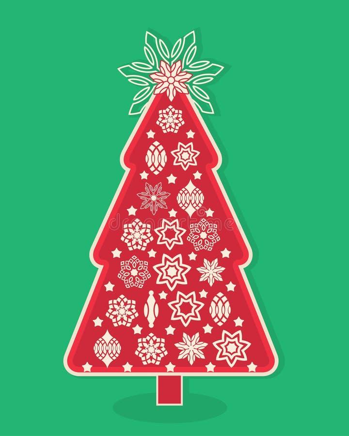 Γραφικό χριστουγεννιάτικο δέντρο σχεδίου απεικόνιση αποθεμάτων