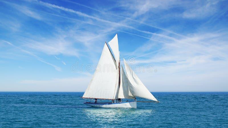Γραφικό seascape με sailboat στοκ εικόνα