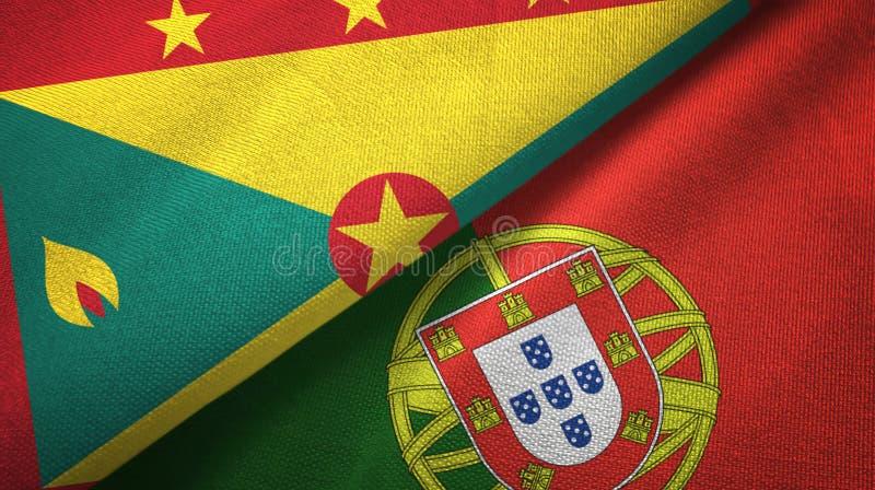 Γρενάδα και Πορτογαλία δύο υφαντικό ύφασμα σημαιών, σύσταση υφάσματος απεικόνιση αποθεμάτων