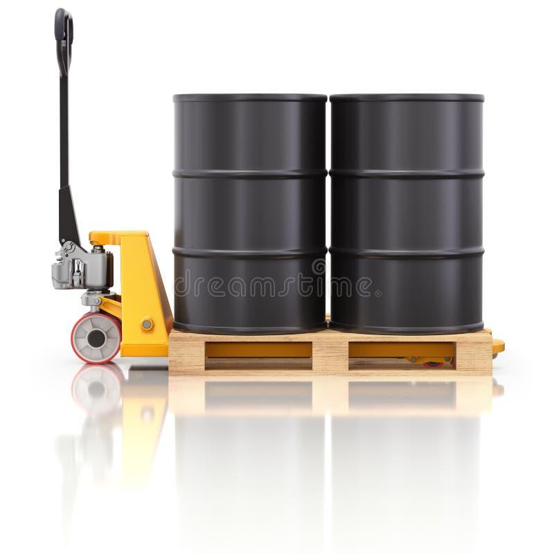 Γρύλος παλετών με τα βαρέλια πετρελαίου διανυσματική απεικόνιση