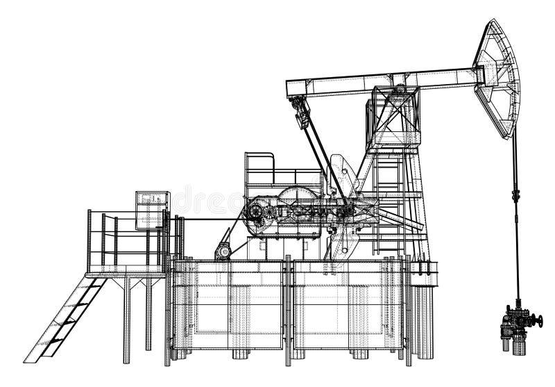 Γρύλος αντλιών πετρελαίου στο ύφος καλώδιο-πλαισίων ελεύθερη απεικόνιση δικαιώματος