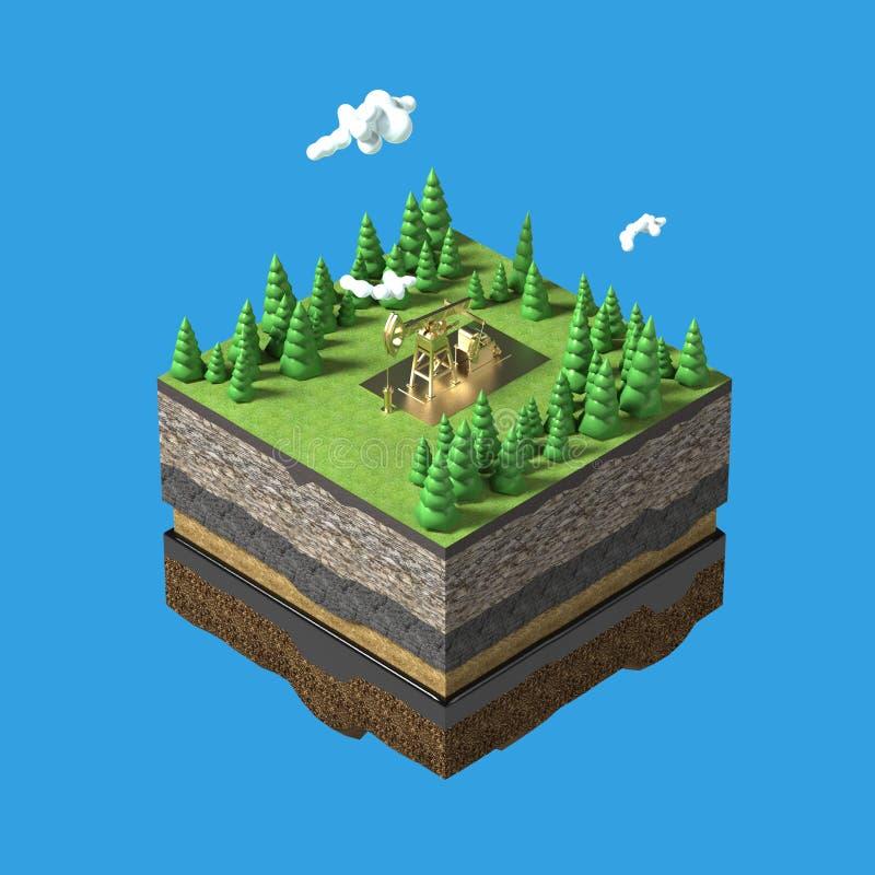 γρύλος αντλιών στη μικρή γη φετών με τα δέντρα, τα σύννεφα, την εδαφολογική πέτρα στρωμάτων και το πετρέλαιο ενεργειακή βιομηχανι διανυσματική απεικόνιση