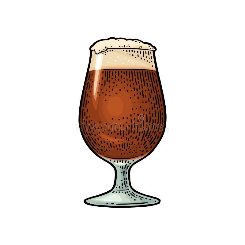 Γυαλί αχθοφόρων μπύρας με τον αφρό Εκλεκτής ποιότητας χάραξη χρώματος ελεύθερη απεικόνιση δικαιώματος