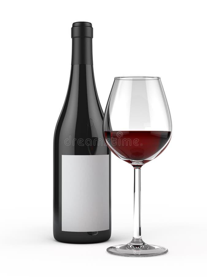Γυαλί και μπουκάλι του κόκκινου κρασιού διανυσματική απεικόνιση