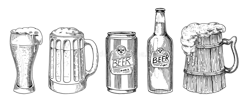 Γυαλί, κούπα ή μπουκάλι μπύρας πιό oktoberfest που χαράσσονται στο χέρι μελανιού που σύρεται στο παλαιό σκίτσο και το εκλεκτής πο διανυσματική απεικόνιση