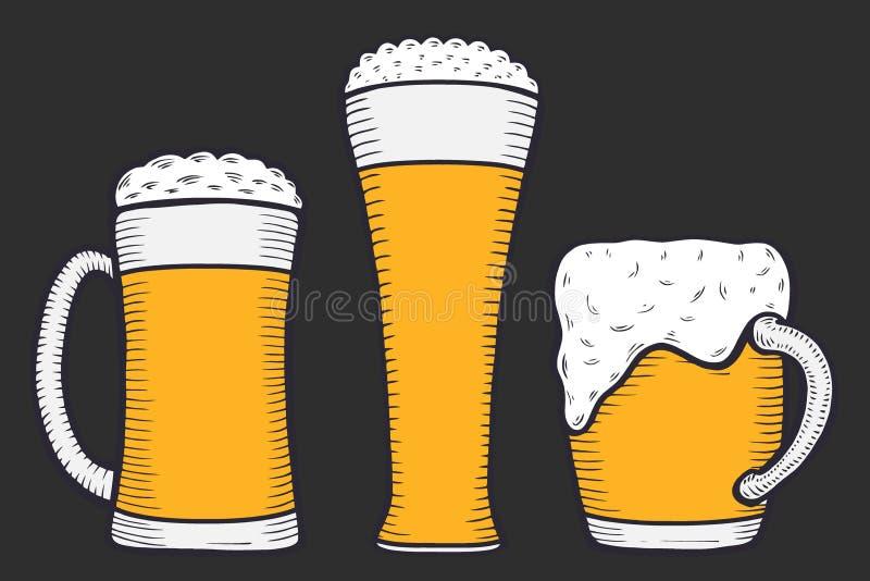 Γυαλί, κούπα ή μπουκάλι μπύρας απεικόνιση αποθεμάτων