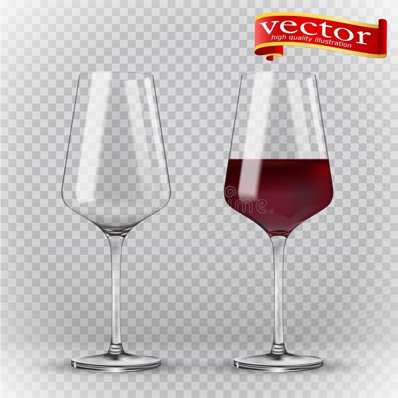 Γυαλί κρασιού διαφάνειας κενό σύνολο τρισδιάστατος ρεαλισμός, διανυσματικό εικονίδιο ελεύθερη απεικόνιση δικαιώματος