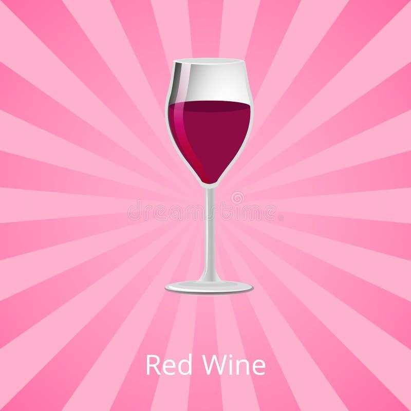Γυαλί κόκκινου κρασιού Burgundy του κλασικού διανύσματος ποτών διανυσματική απεικόνιση