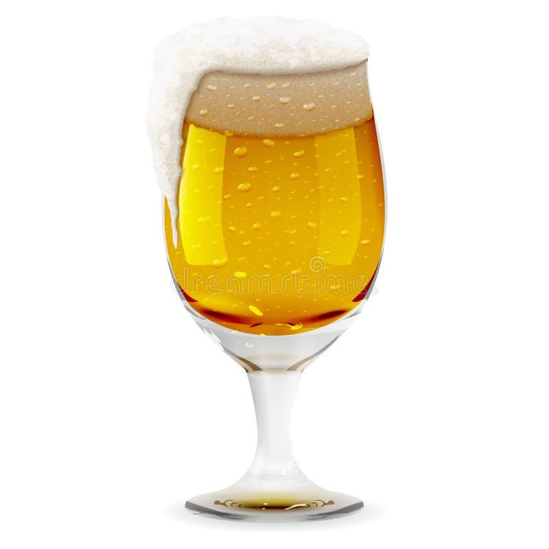 Γυαλί με τη foamy μπύρα, ρεαλιστική κούπα Απεικόνιση εικονιδίων γυαλιού ποτών οινοπνεύματος διανυσματική απεικόνιση