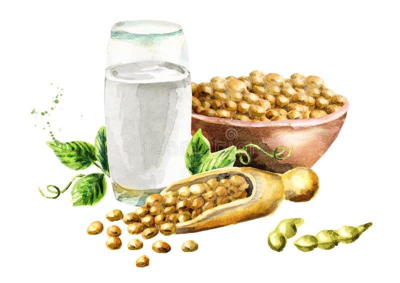Γυαλί με το γάλα σόγιας και τη σύνθεση σόγιας στοκ φωτογραφίες με δικαίωμα ελεύθερης χρήσης