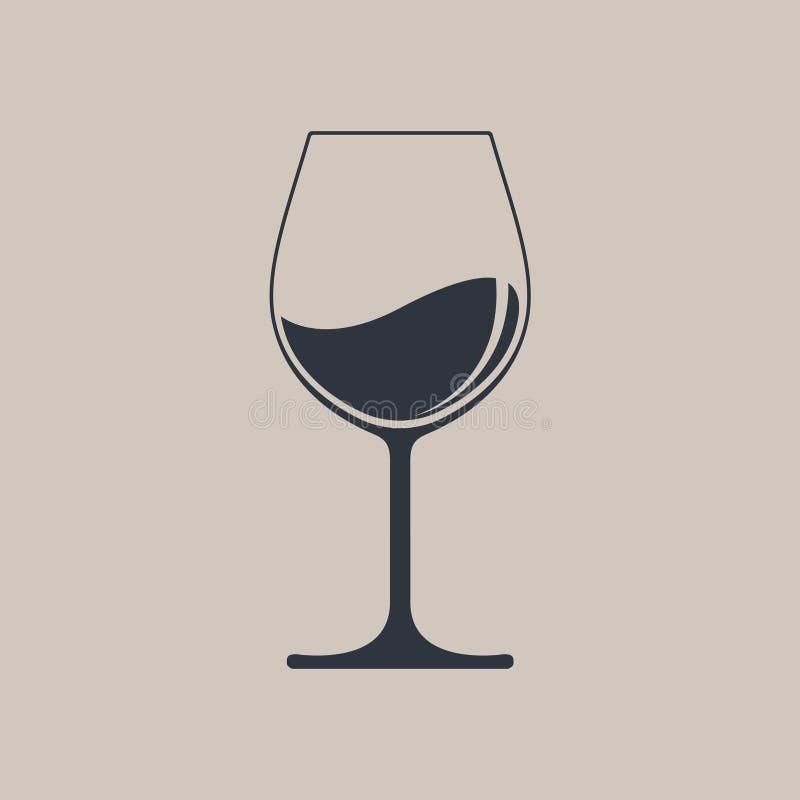 Γυαλί με το εικονίδιο κρασιού διανυσματική απεικόνιση