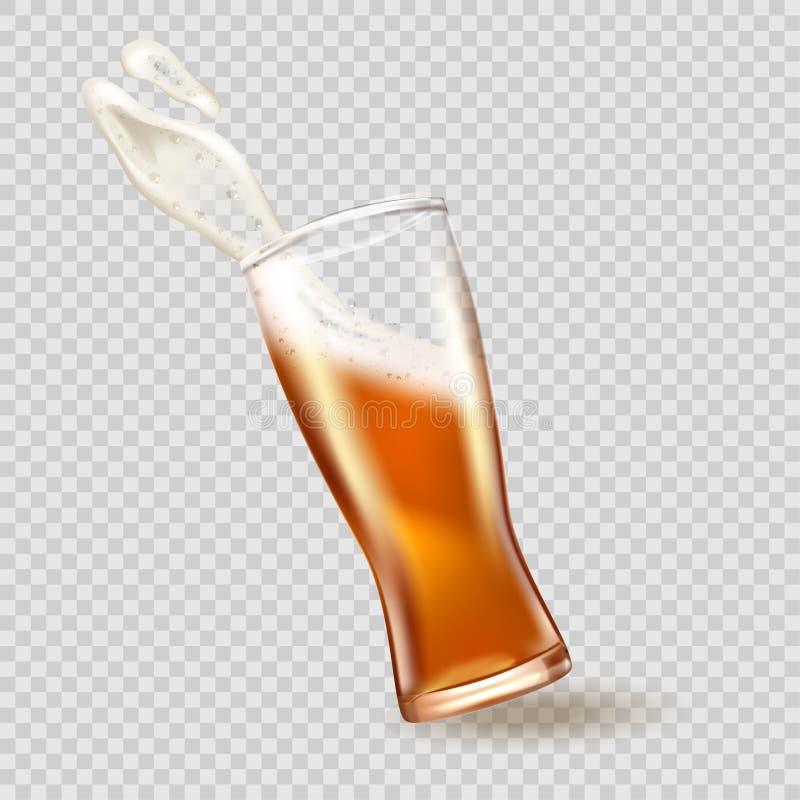 Γυαλί με το ράντισμα της μπύρας, ελκυστικό πρότυπο μπύρας στο τρισδιάστατο πρότυπο στο διαφανές υπόβαθρο απόθεμα απεικόνισης κατα διανυσματική απεικόνιση
