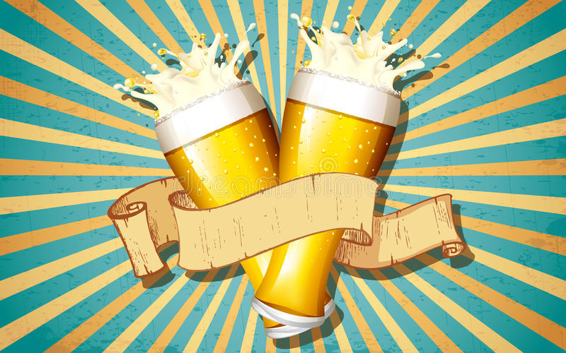 Γυαλί μπύρας στην αναδρομική ανασκόπηση διανυσματική απεικόνιση