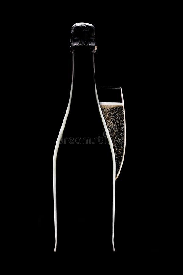 γυαλί σαμπάνιας μπουκαλ στοκ εικόνα