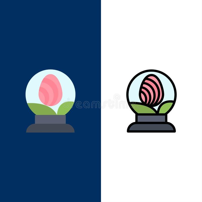 Γυαλί, σφαίρα, αυγό, εικονίδια Πάσχας Επίπεδος και γραμμή γέμισε το καθορισμένο διανυσματικό μπλε υπόβαθρο εικονιδίων ελεύθερη απεικόνιση δικαιώματος