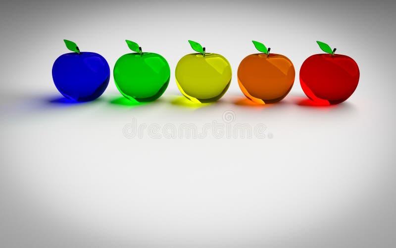 Γυαλί της Apple, καμμένος μήλο, τρισδιάστατο πρότυπο Ζωηρόχρωμο υαλώδες μήλο Μπλε, πράσινα, κίτρινα, πορτοκαλιά και κόκκινα τρισδ διανυσματική απεικόνιση