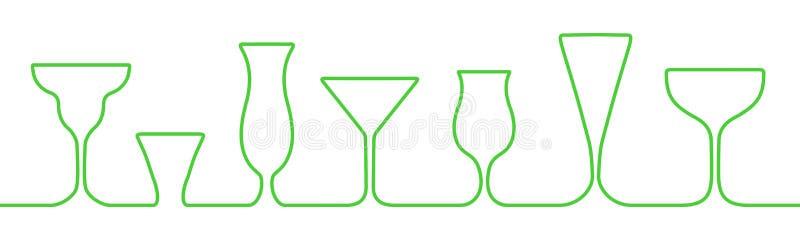 Γυαλιά ένα φραγμών εικονίδια γραμμών καθορισμένα Γυαλί κρασιού, φλυτζάνια, διάνυσμα αποθεμάτων κουπών _ ελεύθερη απεικόνιση δικαιώματος