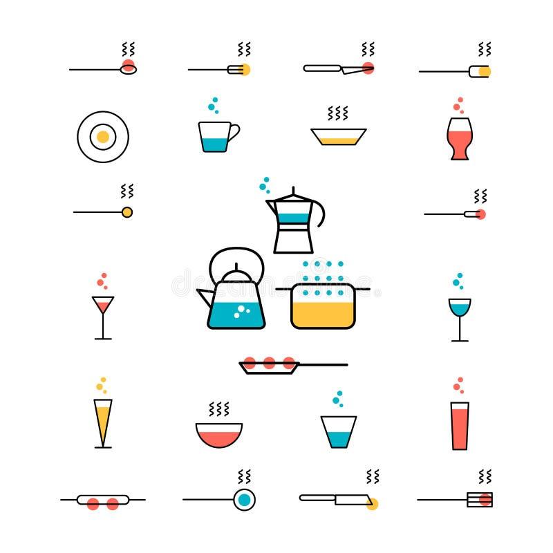 Γυαλιά, εργαλεία κουζινών, δοχεία, τηγάνια, moka, κατσαρόλα διανυσματική απεικόνιση