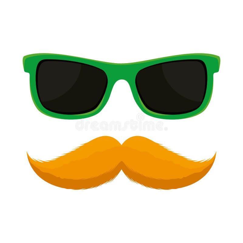Γυαλιά ηλίου και mustache βοηθητικό εικονίδιο απεικόνιση αποθεμάτων