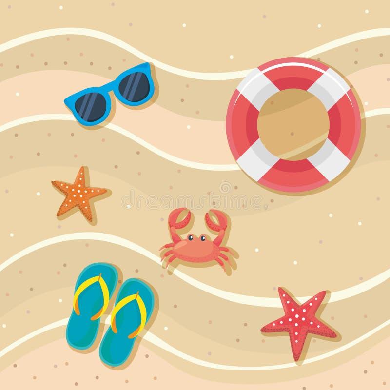 Γυαλιά ηλίου με το επιπλέον σώμα και τους αστερίες με τις σαγιονάρες και καβούρι στην άμμο παραλιών ελεύθερη απεικόνιση δικαιώματος