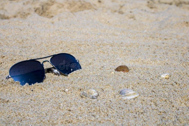 Γυαλιά ηλίου στην άμμο στοκ εικόνες