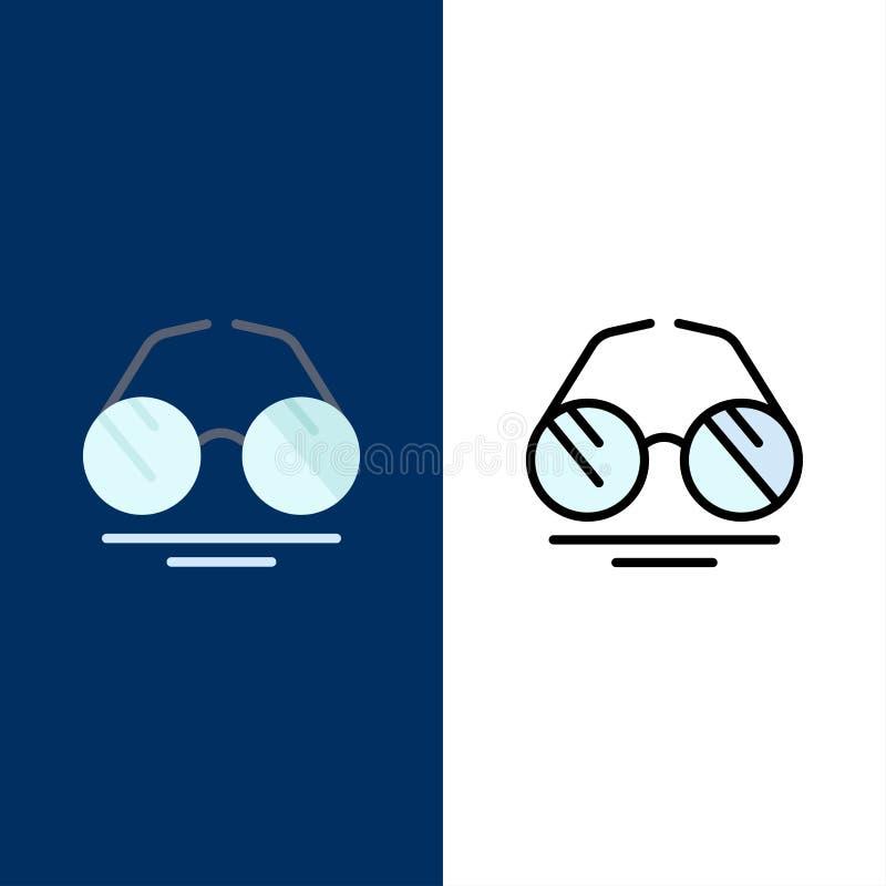 Γυαλιά, μάτι, άποψη, εικονίδια ανοίξεων Επίπεδος και γραμμή γέμισε το καθορισμένο διανυσματικό μπλε υπόβαθρο εικονιδίων απεικόνιση αποθεμάτων