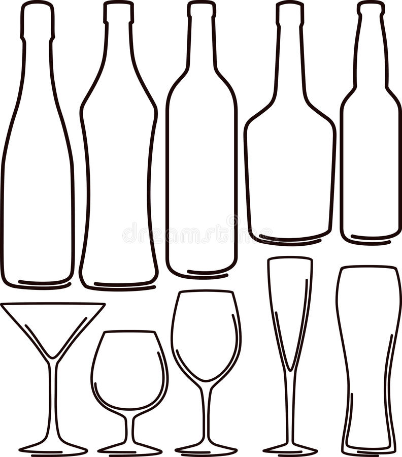 γυαλιά μπουκαλιών που τί&t διανυσματική απεικόνιση