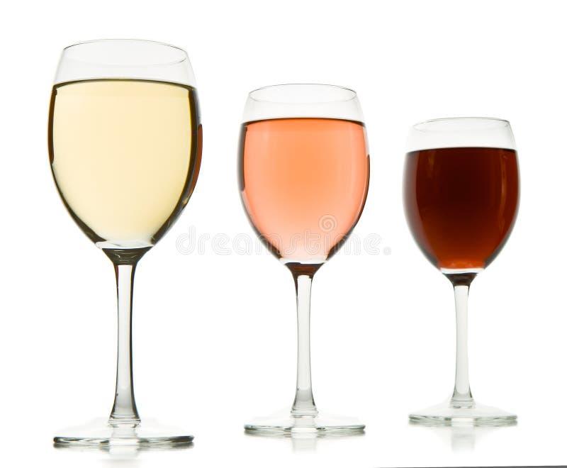 γυαλιά τρία κρασί στοκ εικόνες με δικαίωμα ελεύθερης χρήσης