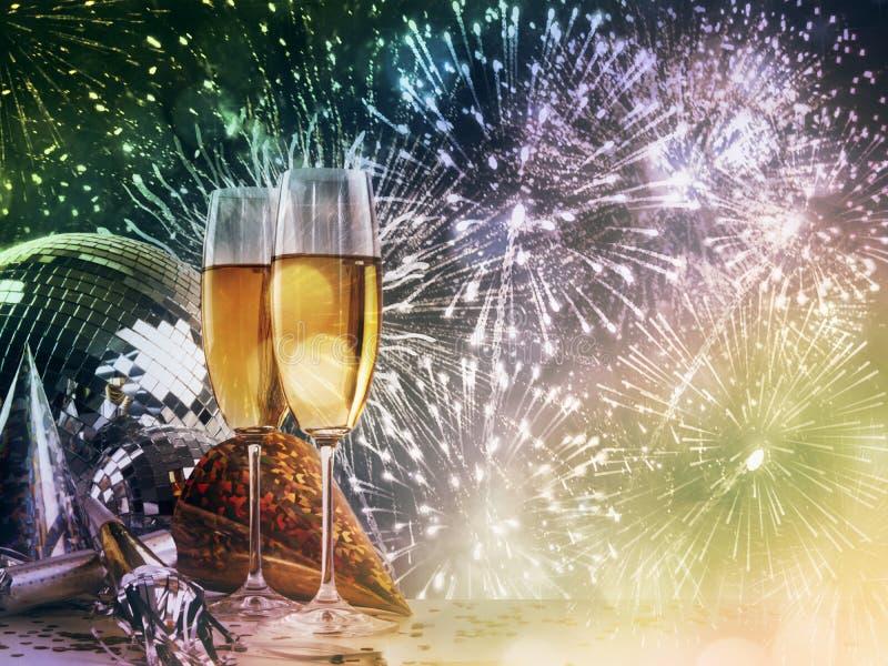 Γυαλιά CHAMPAGNE ενάντια στους νέους εορτασμούς έτους στοκ εικόνα