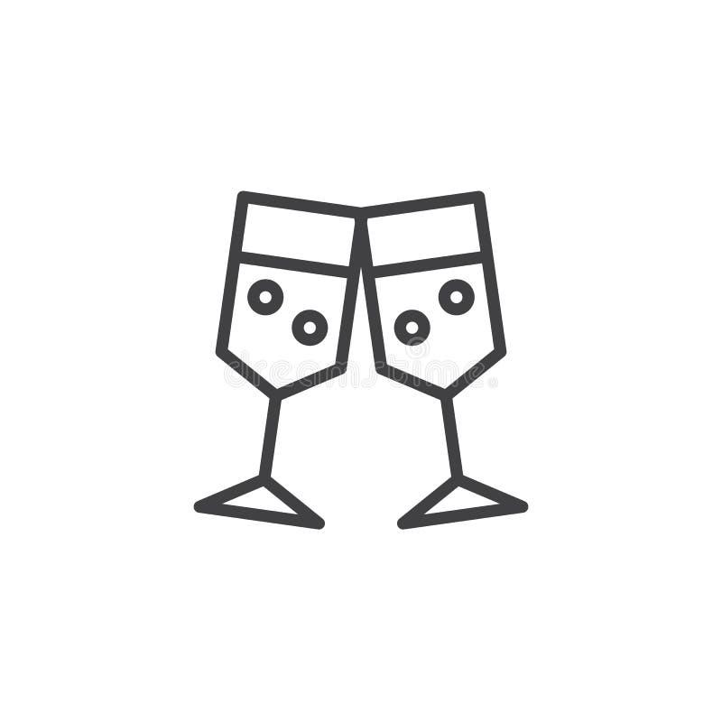 Γυαλιά CHAMPAGNE που ψήνουν το εικονίδιο περιλήψεων διανυσματική απεικόνιση