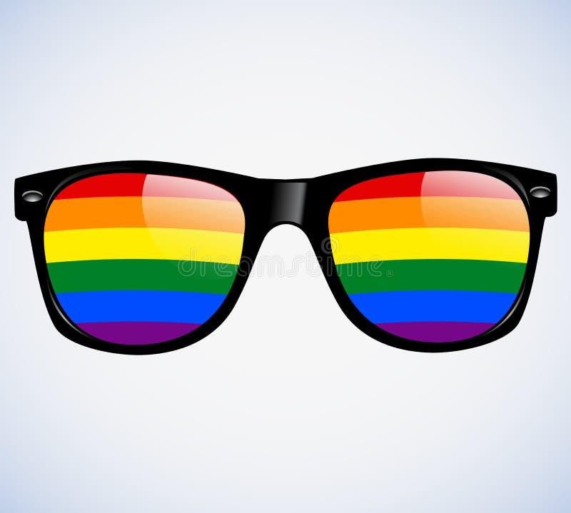 Γυαλιών ηλίου αφηρημένο ουράνιων τόξων υπόβαθρο απεικόνισης φακών διανυσματικό LGBT απεικόνιση αποθεμάτων