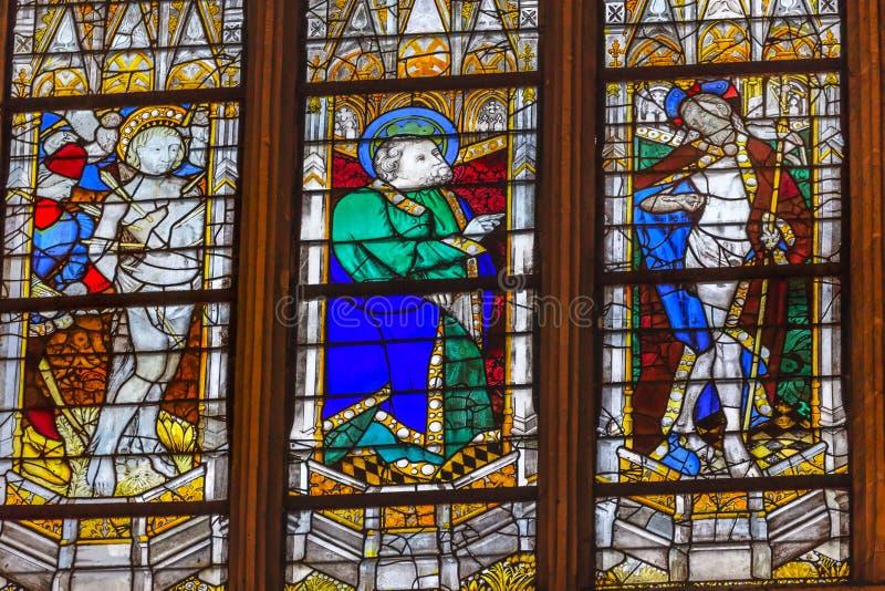 Γυαλί Άγιος Severin Παρίσι Γαλλία του ST Sebastian ST Πάτρικ Stained στοκ εικόνες με δικαίωμα ελεύθερης χρήσης