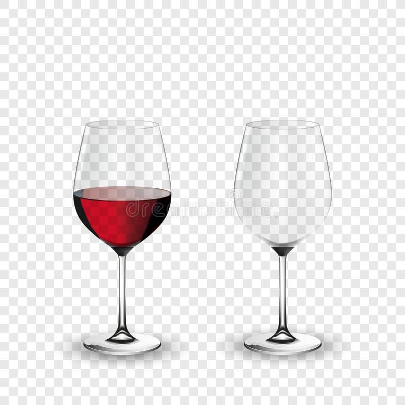 Γυαλί κρασιού, κενό και με το κόκκινο κρασί, διαφανής διανυσματική απεικόνιση διανυσματική απεικόνιση