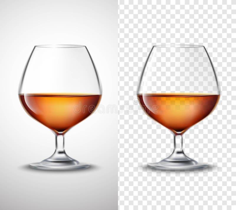 Γυαλί κρασιού με τα διαφανή εμβλήματα οινοπνεύματος απεικόνιση αποθεμάτων