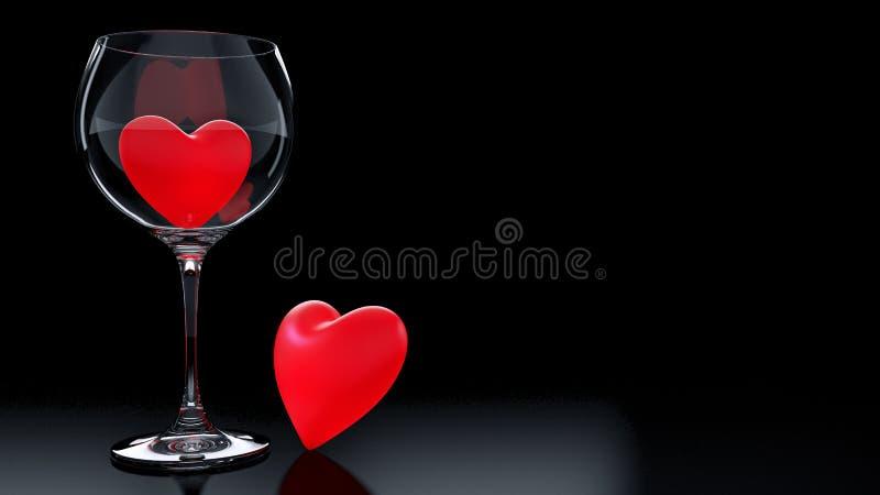 Γυαλί κρασιού με τις κόκκινες καρδιές την ημέρα του βαλεντίνου διανυσματική απεικόνιση