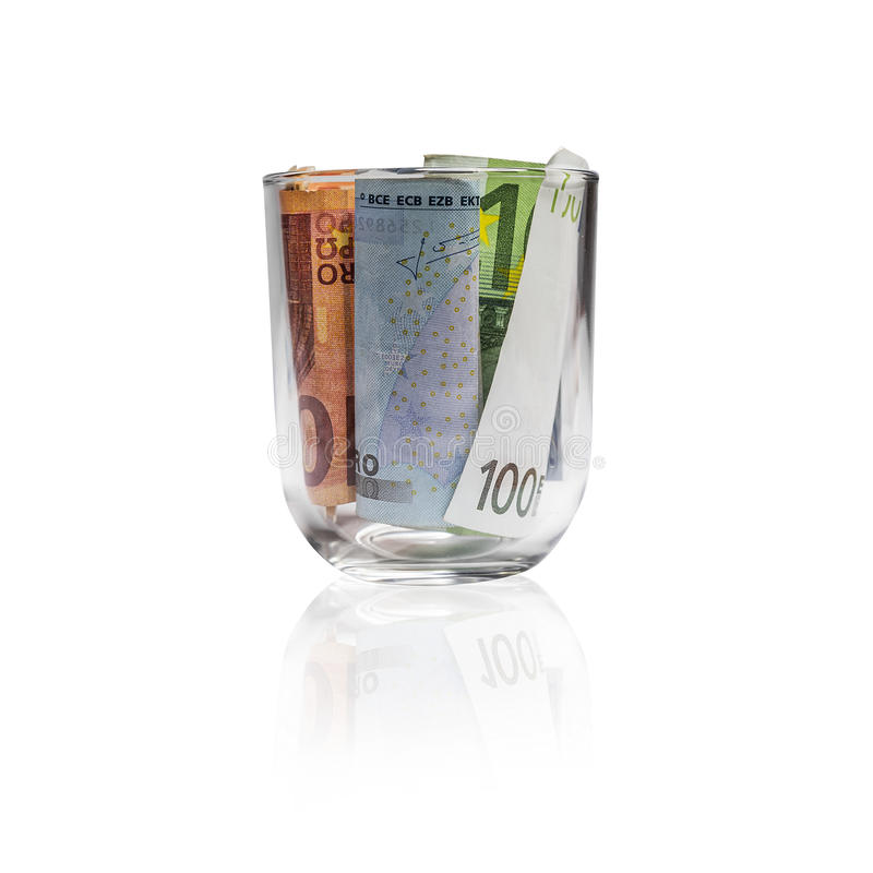 Γυαλί με τους ευρο- λογαριασμούς στοκ φωτογραφία