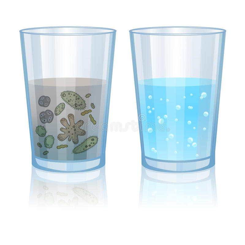 Γυαλί με το καθαρό και βρώμικο νερό, απεικόνιση μόλυνσης διάνυσμα απεικόνιση αποθεμάτων