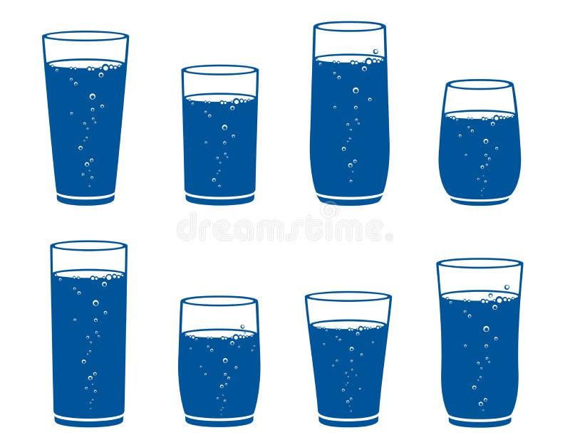 Γυαλί με το σύνολο νερού σπινθηρίσματος απεικόνιση αποθεμάτων