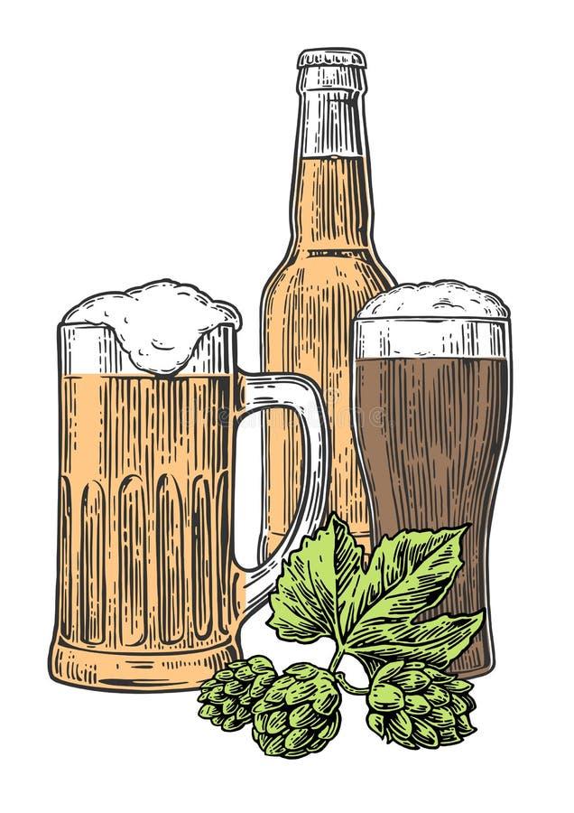 Γυαλί μπύρας, κούπα, μπουκάλι, λυκίσκος Διανυσματική χαραγμένη τρύγος απεικόνιση που απομονώνεται στο άσπρο υπόβαθρο απεικόνιση αποθεμάτων