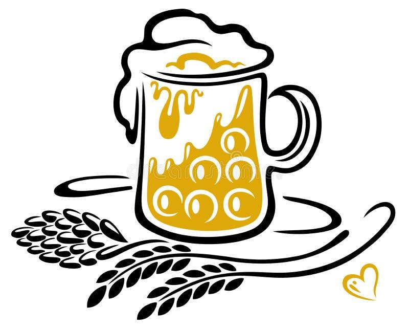 Γυαλί μπύρας με τους λυκίσκους, τα δημητριακά και την καρδιά διανυσματική απεικόνιση